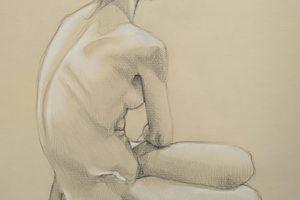 10 ALESSIA CATTAI - Claudia seduta di schiena - Grafite e matita colorata bianca su carta vergantina crema 2020