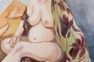 11 ANNA LOREDANA CIBIN - Elisa con abito a fiori - Acquerello su carta 2020