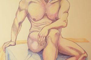 13 ANNA LOREDANA CIBIN - Matthias - Matite colorate cerose su cartoncino ruvido giallo ocra 2020