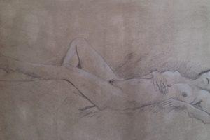 22 IVONE ORTOLAN - Nudi disteso di schiena - Grafite e matita bianca su carta preparata dall'autore 2020
