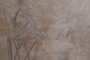 24 IVONE ORTOLAN - Claudia sulla poltroncina - Grafite e matita bianca su carta preparata dall'autore 2020