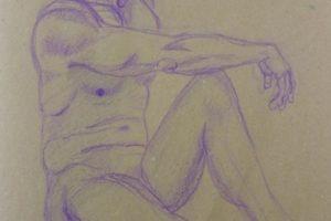 28 WALTER RADAELLI - Matthias seduto ( con braccio destro in appoggio sul ginocchio) - Matita colorata su carta paglia 2020