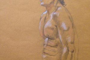 32 SERGIO TREVISAN - Matthias, ritratto anatomico - Grafite e matita gessosa bianca e arancio su carta paglia 2020