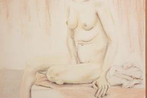 4 NATALINA BOTTACIN - Nudo con gamba piegata - Pastelli gessosi su carta 2020