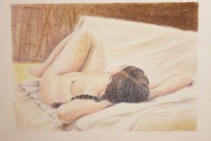 6 NATALINA BOTTACIN - Veronica sul divano - Pastelli gessosi su carta 2020